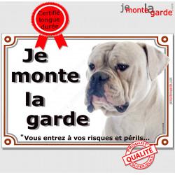 """Bouledogue Américain blanc Tête, plaque portail """"Je Monte la Garde, risques et périls"""" pancarte panneau bulldog photo"""