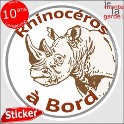 "sticker rond ""Rhinocéros à Bord"" humour absurde 14 cm"