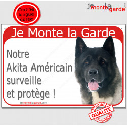 """Akita Américain USA tête, plaque portail rouge """"Je Monte la Garde, surveille protège"""" pancarte panneau photo"""