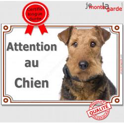 """Airedale, plaque portail """"Attention au Chien"""" 24 cm LUXE C"""