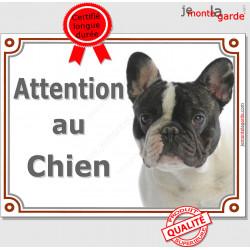 """Bouledogue Français Caille blanc et noir Tête, plaque portail """"Attention au Chien"""" pancarte panneau photo Bulldog"""