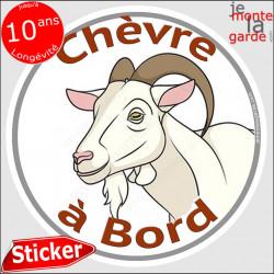 """sticker rond """"Chèvre à Bord"""" humour absurde 14 cm"""