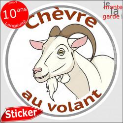 """sticker rond """"Chèvre au volant"""" humour absurde 14 cm"""