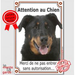 """Beauceron, plaque verticale """"Attention au Chien"""" 24 cm VLC"""