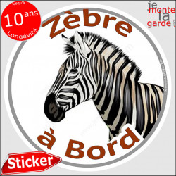 "sticker rond ""Zèbre à Bord"" humour absurde 14 cm"