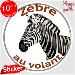 """sticker rond """"Zèbre au volant"""" humour absurde 14 cm"""