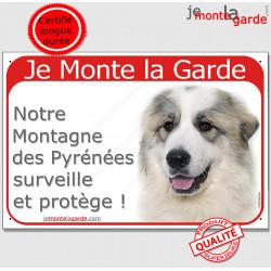 """Montagne des Pyrénées tête, plaque portail rouge """"Je Monte la Garde, surveille protège"""" 24 cm, pancarte panneau photo"""