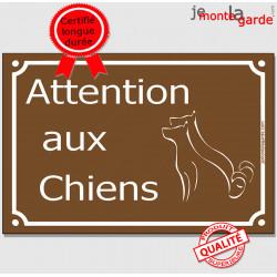 """Plaque Portail """"Attention aux Chiens"""" Rue Marron pluriel 24 cm"""