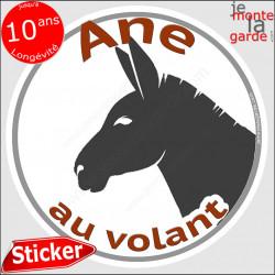 "sticker rond ""Ane au volant"" humour absurde 14 cm"
