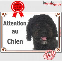 """Chien d'Eau Espagnol complètement tout noir, plaque portail """"Attention au Chien"""" pancarte photo panneau race affiche totalement"""