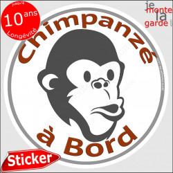 """sticker rond """"Chimpanzé à Bord"""" humour absurde voiture remorque photo tête Disque autocollant adhésif singe homme macaque baboui"""