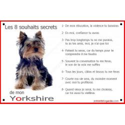Yorkshire Assis, Plaque Portail Les 8 Souhaits Secrets, pancarte, affiche panneau, commandements éducation
