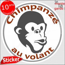 """sticker rond """"Chimpanzé au volant"""" humour absurde voiture remorque photo tête Disque autocollant adhésif singe homme babouin mac"""