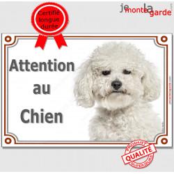 """Bichon Frisé, plaque portail """"Attention au Chien"""" pancarte panneau photo"""