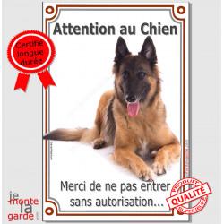 """Berger Belge Tervueren, plaque portail """"Attention au Chien, interdit sans autorisation"""" verticale, pancarte panneau photo"""
