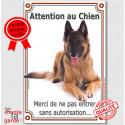 """Tervueren, plaque verticale """"Attention au Chien"""" 24 cm VLC"""