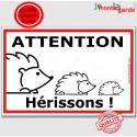 """Plaque extérieure """"Attention Hérissons !"""" 24 cm"""