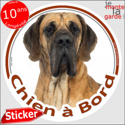 "Dogue Allemand, sticker ""Chien à Bord"" 14 cm"