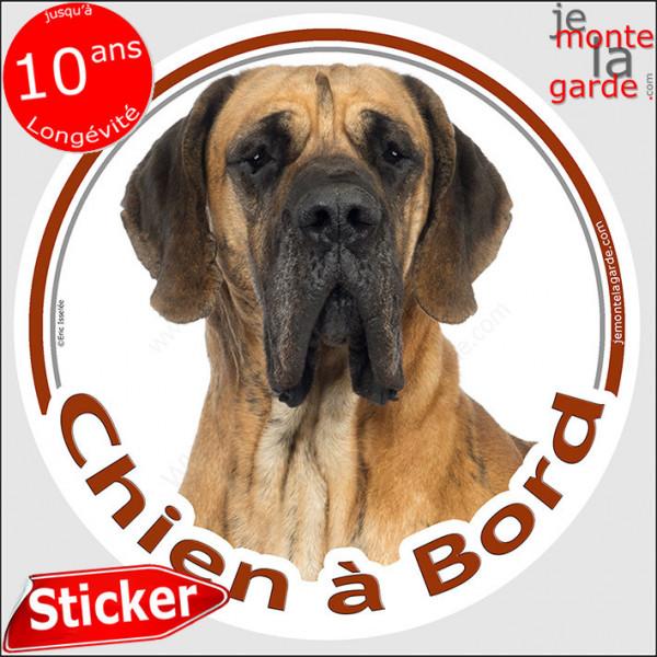 """Dogue Allemand fauve marron, sticker autocollant rond """"Chien à Bord"""" Disque adhésif photo Danois race"""