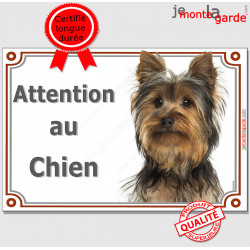 """Yorkshire Tête, plaque portail """"Attention au Chien"""" panneau affiche pancarte photo"""