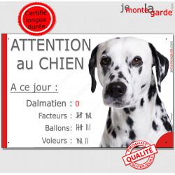 """Dalmatien Tête, pancarte Portail drôle """"attention au chien, Nombre de Voleurs, ballons, facteurs"""" affiche plaque panneau marrant"""