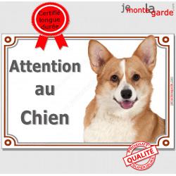 """Welsh Corgi fauve, plaque portail """"Attention au Chien"""" pancarte panneau photo pembroke"""