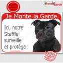 """Staffie noir, plaque rouge """"Je Monte la Garde"""" 24 cm RED"""