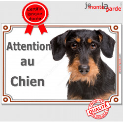 """Teckel poils durs sanglier Tête, plaque portail """"Attention au Chien"""" pancarte panneau marron photo"""
