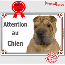 """Shar-Peï fauve marron, plaque portail """"Attention au Chien"""" pancarte panneau photo Sharpei"""
