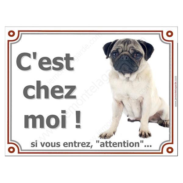 """Carlin Assis, Plaque portail """"Attention, C'est Chez Moi !"""" panneau affiche pancarte photo chien"""