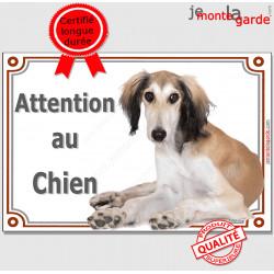 """Lévrier Saluki fauve et blanc, plaque portail """"Attention au Chien"""" pancarte panneau photo Persan couché"""