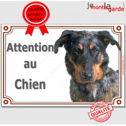 """Berger de Beauce Arlequin Tête, plaque portail """"Attention au Chien"""" pancarte panneau Beauceron merle Harlequin photo"""