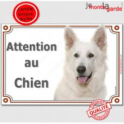 """Berger Blanc Tête, plaque portail """"Attention au Chien"""" pancarte panneau affiche BBS suisse photo"""