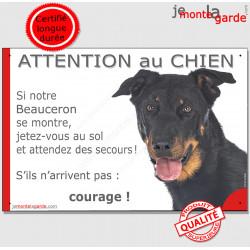 """Beauceron Tête, panneau """"Attention au Chien, montre, jetez-vous au sol, attendez secours, courage"""" marrant drôle, affiche plaque"""