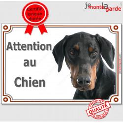 """Dobermann noir et Feu Tête, Plaque portail """"Attention au Chien"""" panneau affiche pancarte photo"""