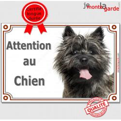 """Cairn Terrier bringé foncé Tête, plaque portail """"Attention au Chien"""" pancarte panneau photo race"""