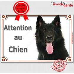 """Berger Belge Groenendael, plaque portail """"Attention au Chien"""" pancarte panneau photo"""