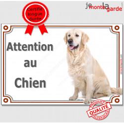 """Golden Retriever assis, plaque portail """"Attention au Chien"""" pancarte photo entrée, panneau rue race porte"""