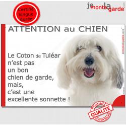 """Plaque portail humour """"Attention au Chien, notre Coton de Tuléar est une sonnette"""" photo pancarte drôle jappe aboie"""