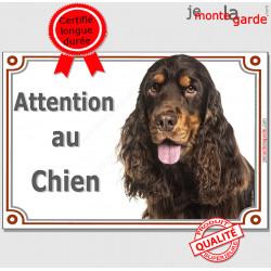 """Cocker Anglais Spaniel marron chocolat et feu, plaque portail """"Attention au Chien"""" panneau pancarte affiche photo"""