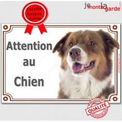 """Berger Australien tricolore rouge, plaque portail """"Attention au Chien"""" pancarte panneau photo aussie"""