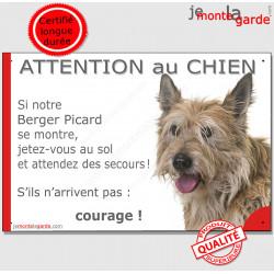 """Berger Picard, plaque humour """"Attention au Chien, Jetez Vous au Sol, secours, courage"""" pancarte photo"""