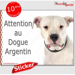 """Dogue Argentin, autocollant """"Attention au Chien"""" 16 cm"""