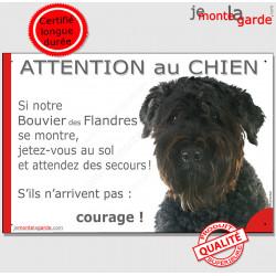 """Bouvier des Flandres, plaque portail humour """"Attention au Chien, Jetez Vous au Sol, secours, courage"""" photo pancarte drôle"""