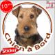 """Airedale Terrier, disque photo autocollant voiture """"Chien à Bord"""" Sticker adhésif"""