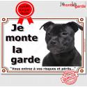 """Staffie tout noir, plaque """"Je Monte la Garde"""" 24 cm LUX C"""
