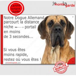 """Danois fauve, plaque humour """"parcourt distance Niche - Portail, rapide"""" photo Dogue Allemand marron attention au chien"""