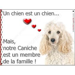Plaque 16 cm LOVE, Membre de la Famille, Caniche Blanc Tête