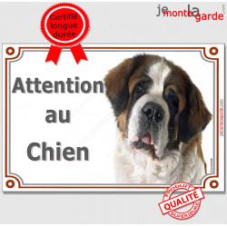 """Saint-Bernard, plaque portail """"Attention au Chien"""" pancarte photo entrée, panneau rue race porte"""