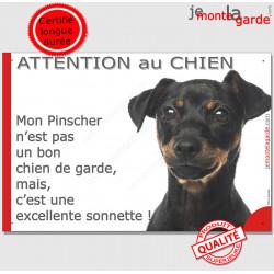 """Plaque portail humour """"Attention au Chien, notre gardien Pinsher noir et feu est une sonnette"""" Pancarte drôle photo"""